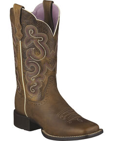 Ariat Quickdraw Badlands Boot - Wide Square Toe, Brown, hi-res