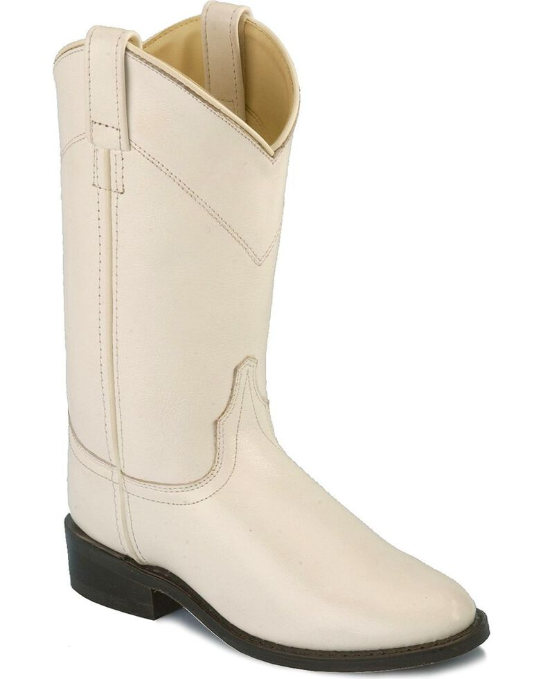 Old West Leather Roper Boots, White, hi-res