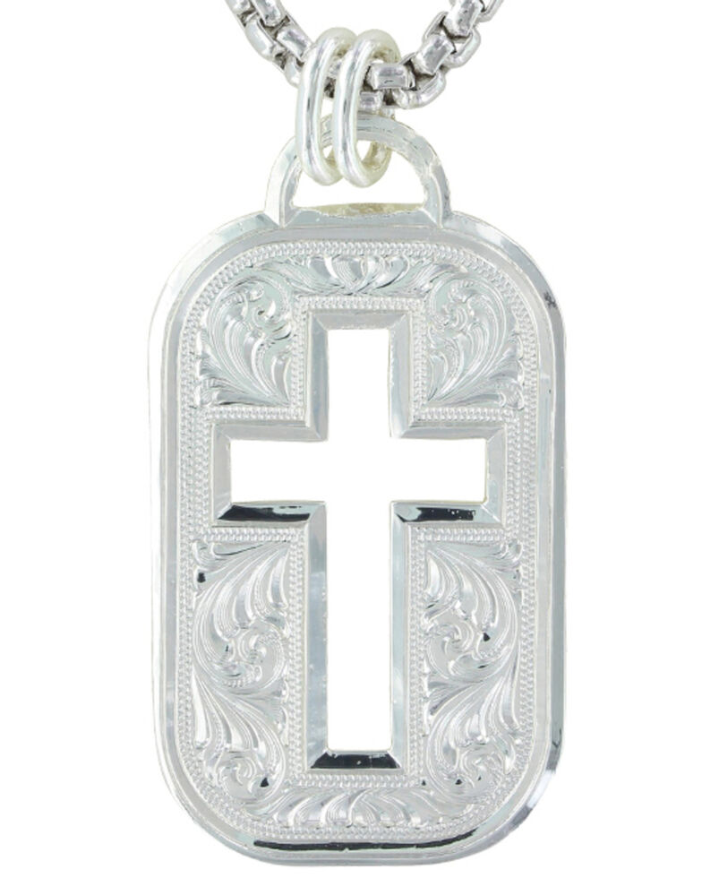 Montana Silversmiths Western Lace Cross Token Necklace, Silver, hi-res