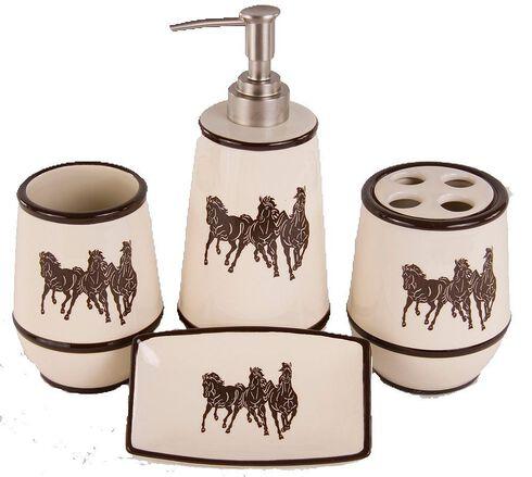 HiEnd Accents Three Horses 4-Piece Bathroom Set, Natural, hi-res