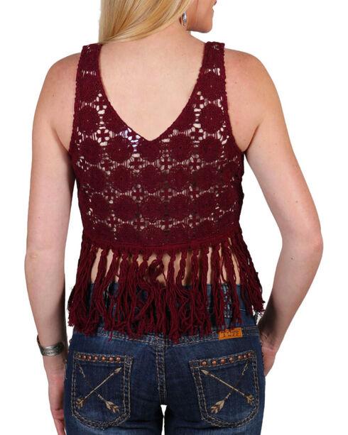 Shyanne Women's Burgundy Crochet Fringe Top, Burgundy, hi-res