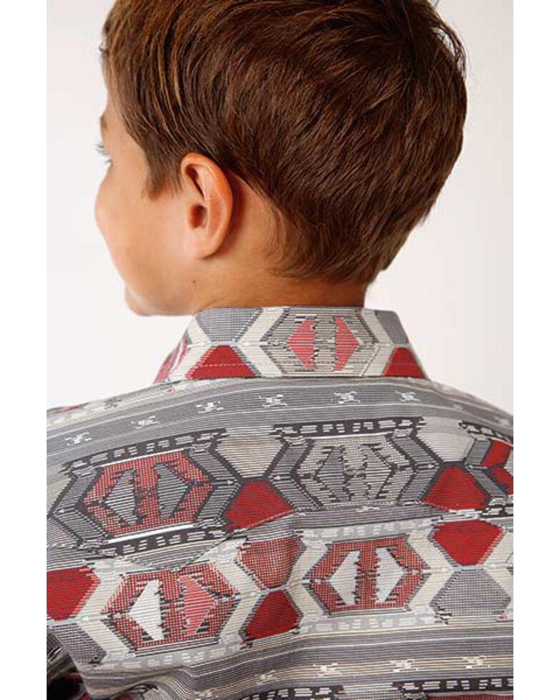 West Made Boys' Aztec Weaving Print Long Sleeve Western Shirt , Red, hi-res
