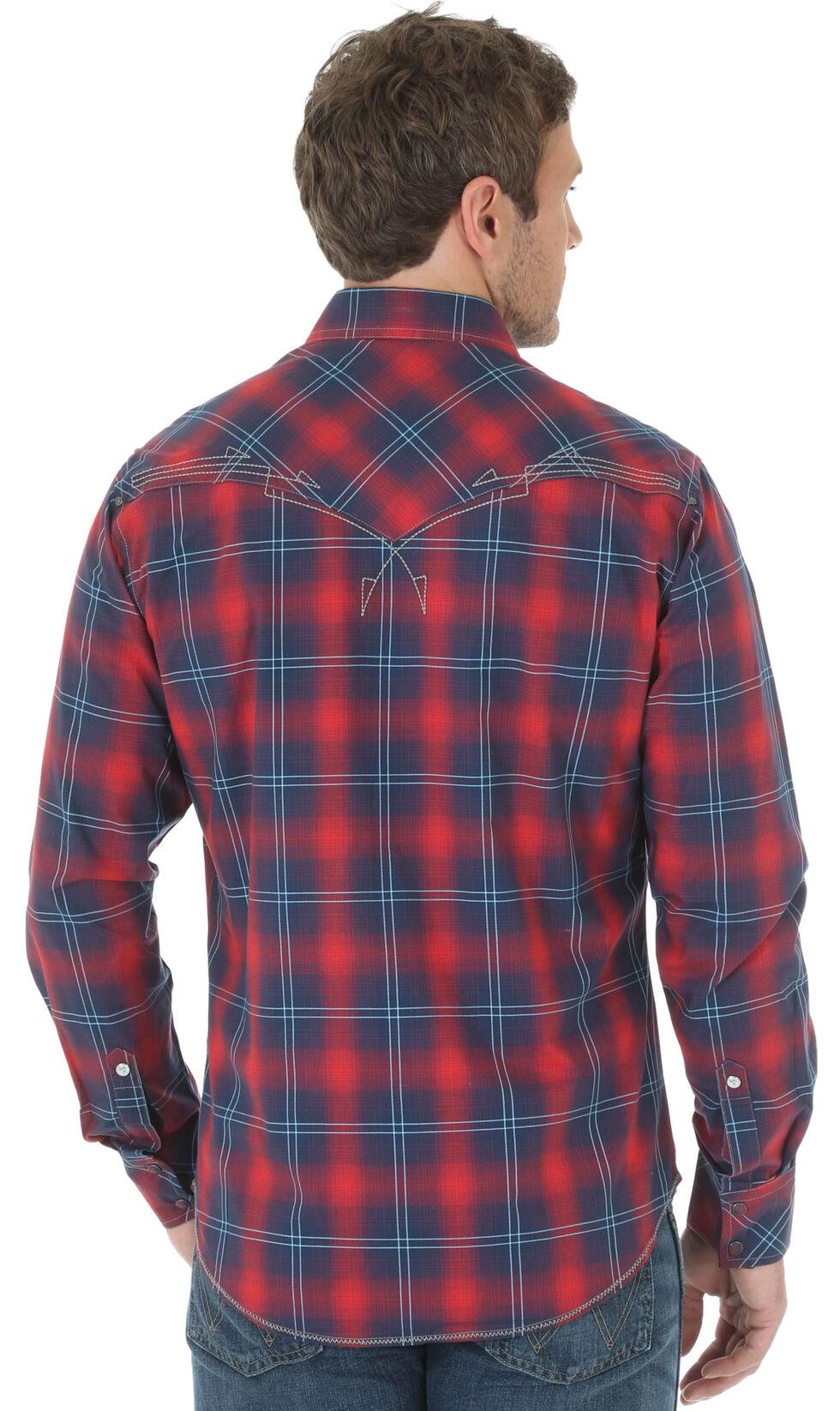 Wrangler Rock 47 Men's Red & Navy Plaid Western Long Sleeve Shirt , Red, hi-res