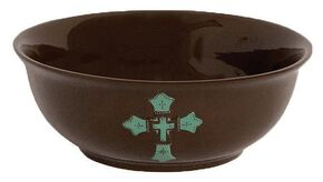 HiEnd Accents Cross Serving Bowl, Brown, hi-res