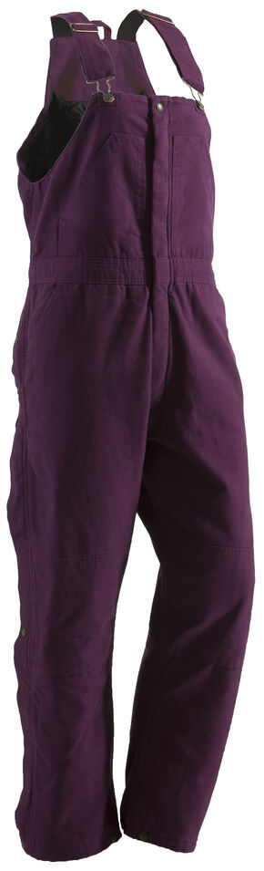 Berne Ladies Washed Insulated Bib Overalls - 3X-4X-Short, Plum, hi-res