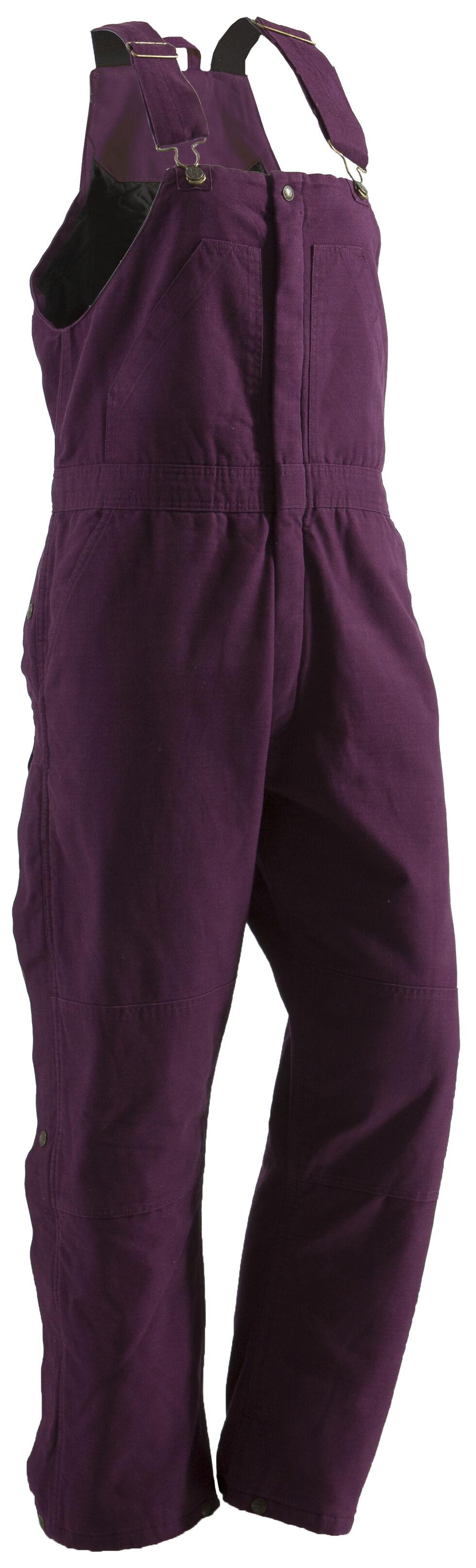 Berne Ladies Washed Insulated Bib Overalls - 3X-4X-Short, Plum, hi-res