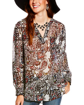 Ariat Women's Paisley Print Split Neck Nordic Tunic, Multi, hi-res