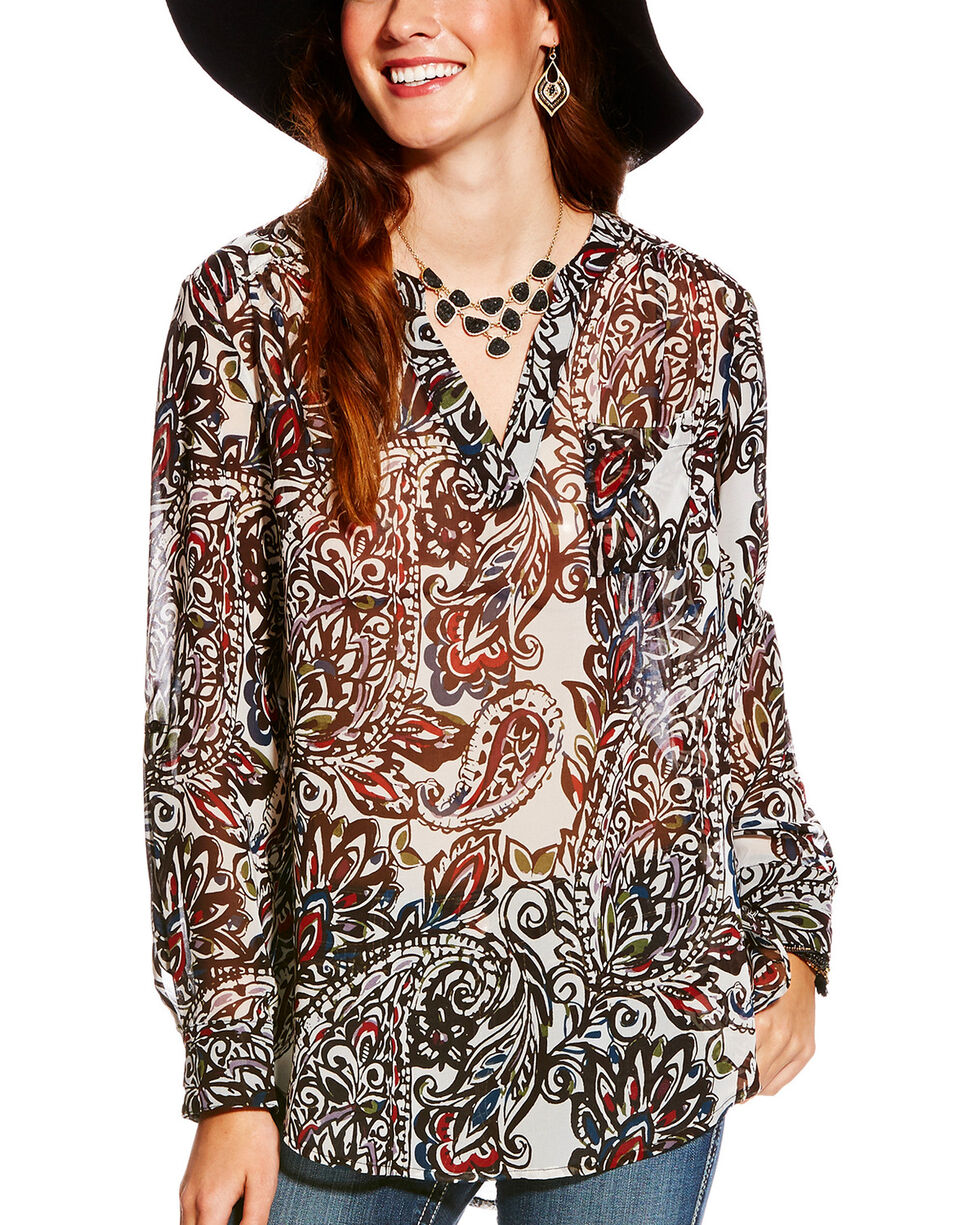 Ariat Women's Paisley Print Split Neck Nordic Tunic, Multi, hi-res