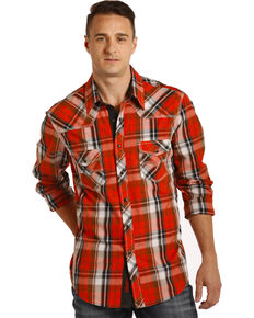 Rock & Roll Denim Men's Red Crinkle Washed Plaid Long Sleeve Western Shirt , Red, hi-res