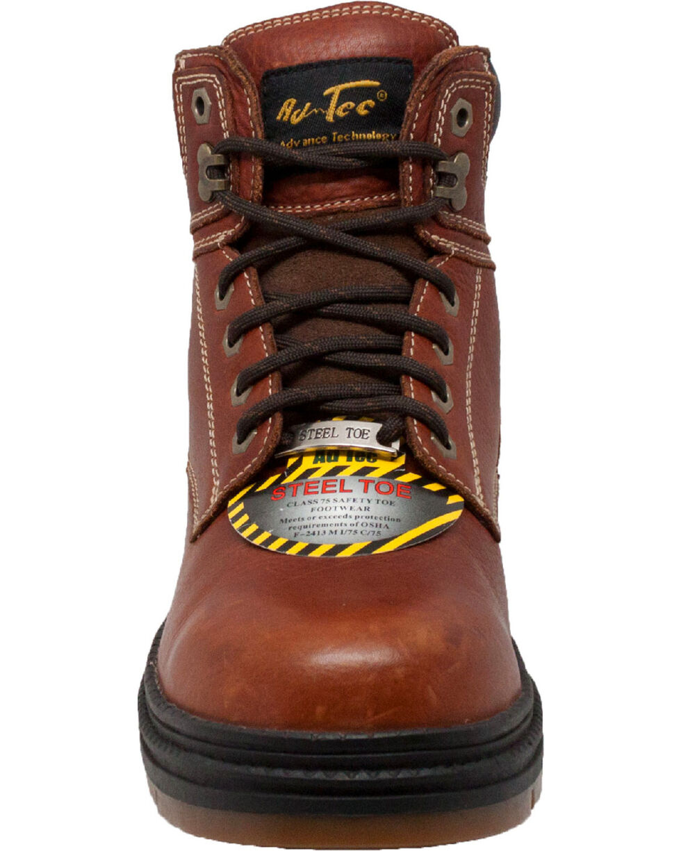 """Ad Tec Men's 6"""" Tumbled Leather EH Work Boots - Steel Toe, Brown, hi-res"""