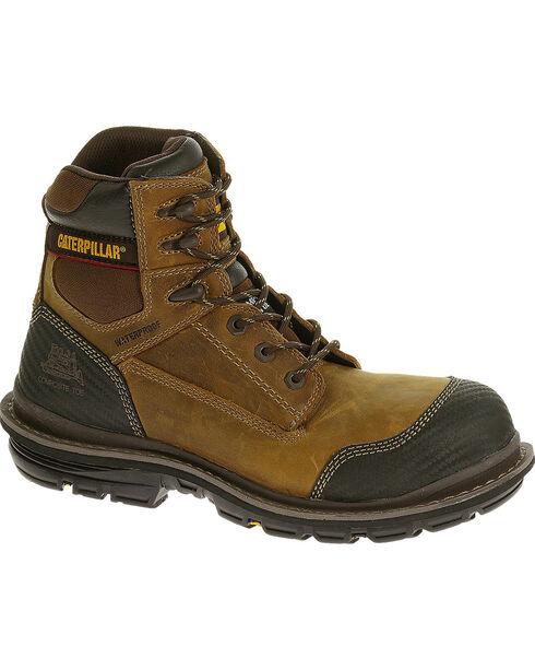 "Caterpillar Men's Brown Fabricate 6"" Tough Waterproof Work Boots - Composite Toe , Light Brown, hi-res"
