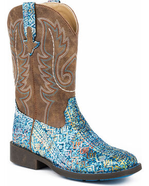Roper Girls' Glitter Aztec Cowgirl Boots - Square Toe, Blue, hi-res