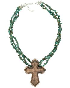 Montana Silversmiths Women's Sign Of Faith Vintage Bronze Cross Turquoise Necklace, Rust Copper, hi-res