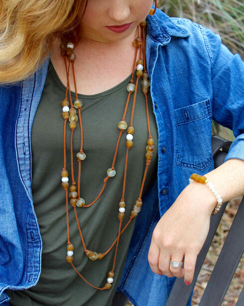 """2 Queen B's Women's Cheetah Girl 36"""" Knotted Camel Suede Ghana Bead Necklace, Brown, hi-res"""