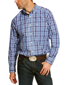 Ariat Men's Blue Abrahms Classic Fit Shirt - Big & Tall, Blue, hi-res
