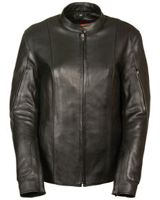 Milwaukee Leather Women's Side Buckle Racer Style Leather Jacket - 4X, Black, hi-res