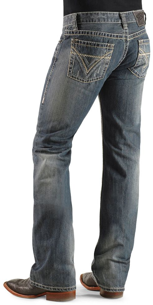 Rock & Roll Denim Men's Pistol Heavy Stitched Bootcut Jeans, Indigo, hi-res