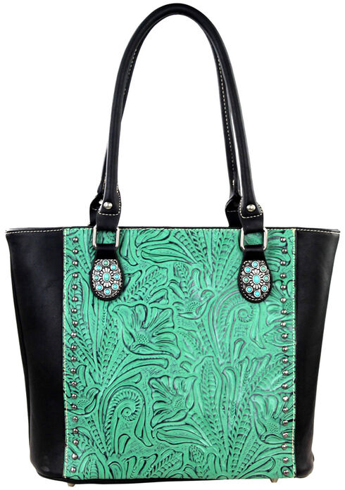 Montana West Trinity Ranch Black/Turquoise Tooled Design Concealed Handgun Collection Handbag, Black, hi-res