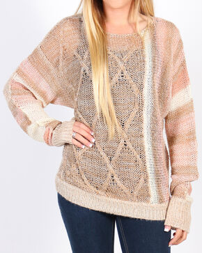 Shyanne Women's Fuzzy Cable Knit Sweater, Tan, hi-res