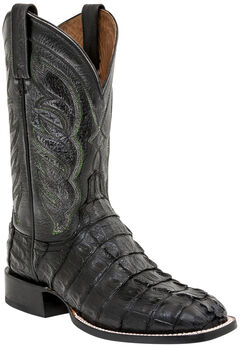 Lucchese 1883 Landon Hornback Caiman Tail Cowboy Boots - Square Toe, Black, hi-res