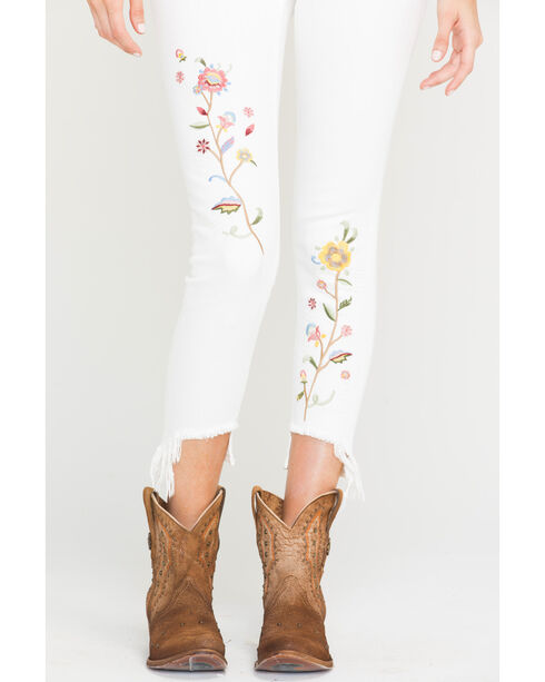 Miss Me Women's Flourish Floral Embroidered Ankle Jeans - Skinny, White, hi-res