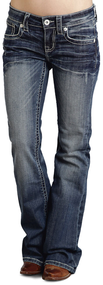 "Stetson Women's 816 Fit White ""S"" Stitch Bootcut Jeans - Plus, Denim, hi-res"