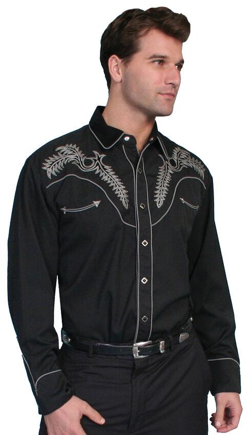 Scully Fancy Stitched Retro Western Shirt, Black, hi-res