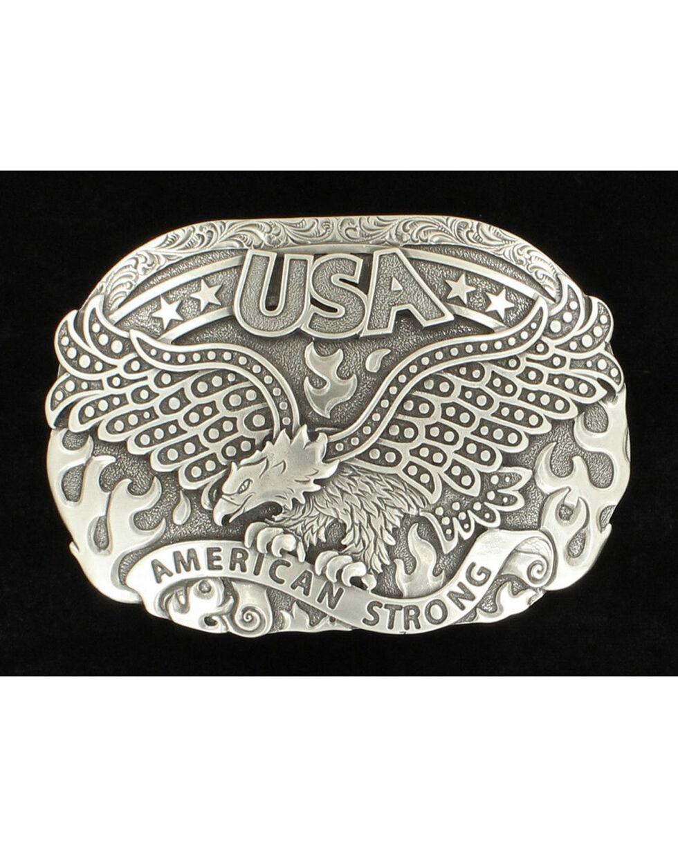 Nocona American Strong Eagle Silver Buckle, Silver, hi-res
