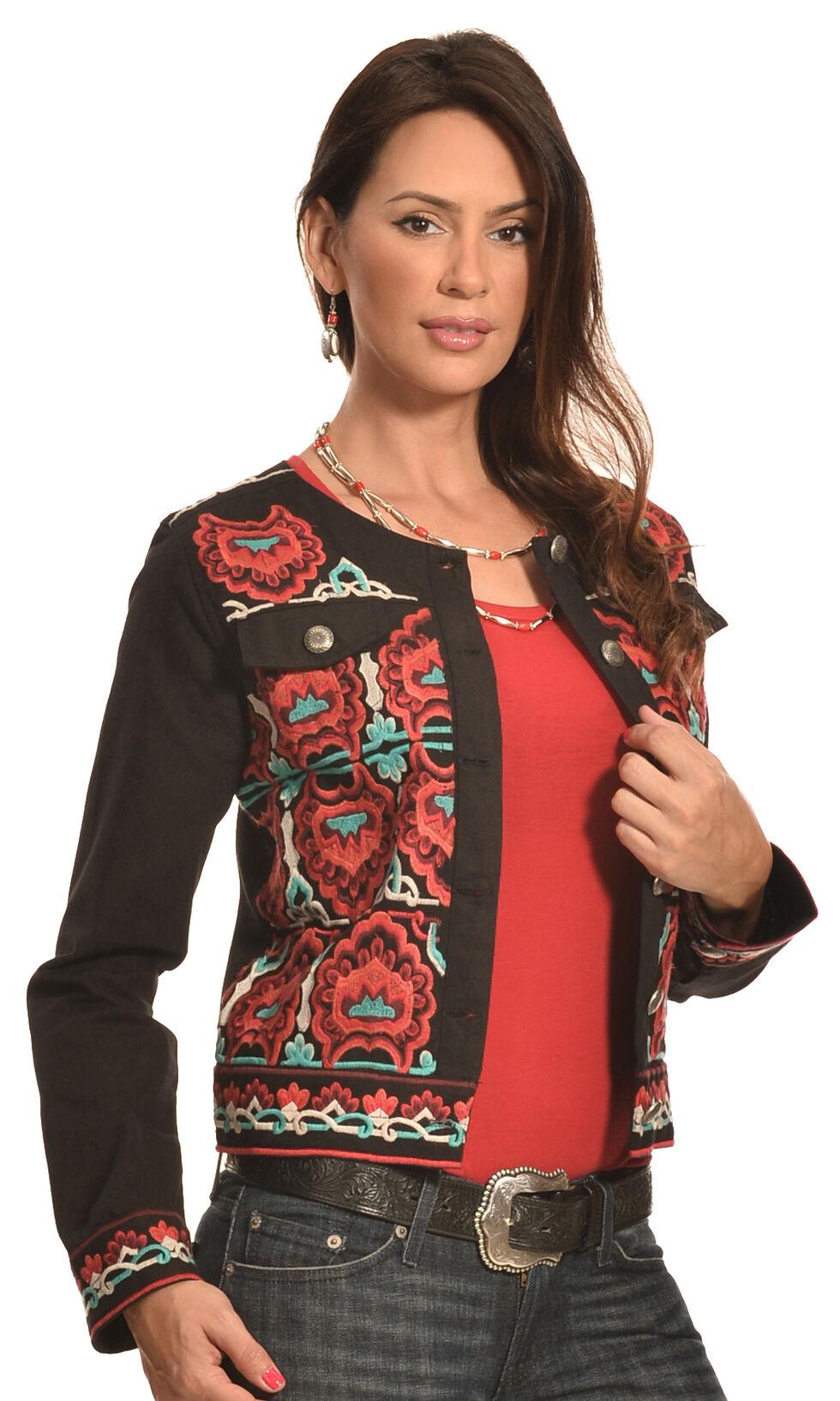 Pink Cattlelac Women's Black Fiesta Embroidered Jacket , Black, hi-res