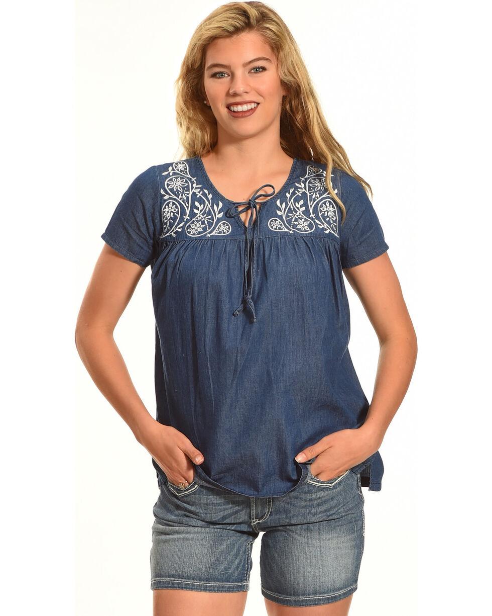Angel Ranch Women's Paisley Top, Indigo, hi-res