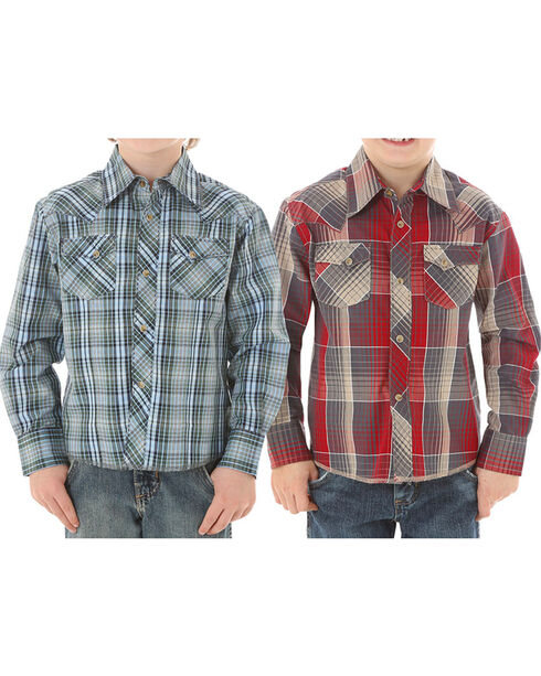Wrangler Boys' Assorted Dobby Plaid Print Long Sleeve Shirt, Multi, hi-res