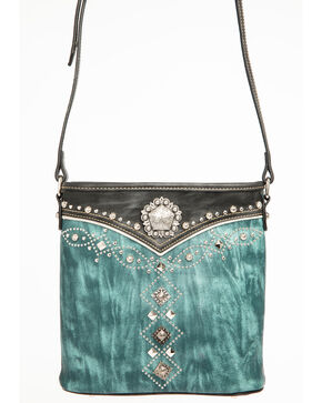 Shyanne Women's Distressed Antique Silver Concho Messenger Bag, Turquoise, hi-res