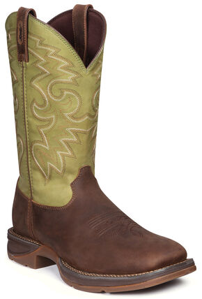 Durango Men's Rebel Coffee & Cactus Western Boots - Square Toe, Coffee, hi-res