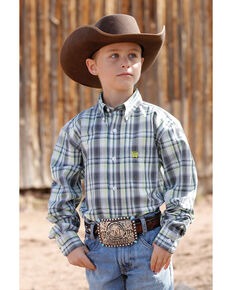 Cinch Boys' White Plaid Button Long Sleeve Western Shirt , White, hi-res