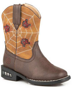 Roper Toddler Boys' Spidie Western Boots - Square Toe, Brown, hi-res