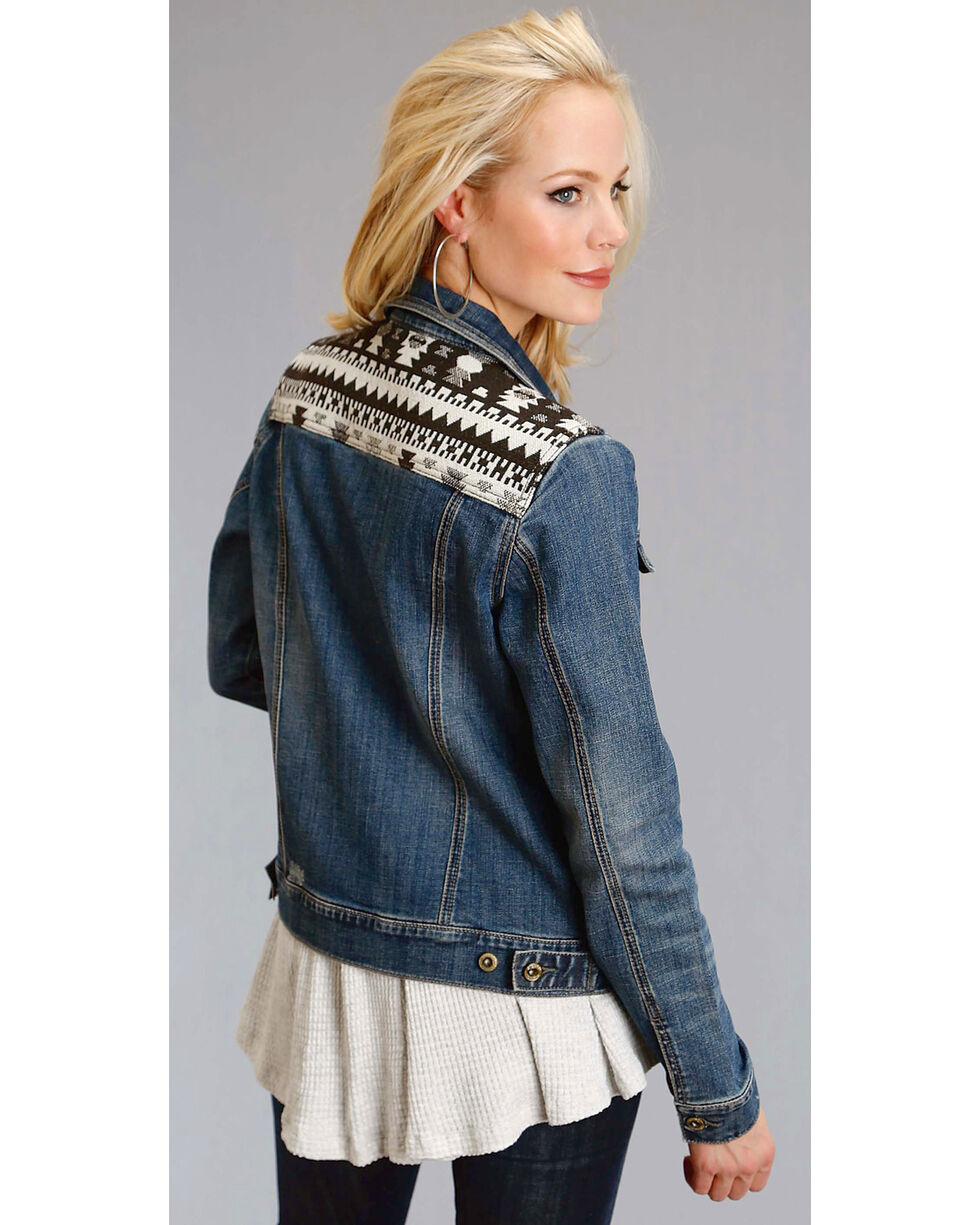 Stetson Women's Aztec Yoke Denim Jacket, Indigo, hi-res