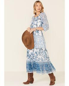 Olive Hill Women's Floral Border Print Veronica Chiffon Dress, Indigo, hi-res