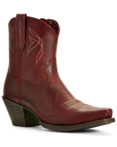 Ariat Women's Lovely Grenadine Western Booties - Snip Toe, Red, hi-res