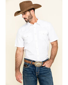 Gibson Trading Co. Men's White Water Solid Short Sleeve Western Shirt, White, hi-res