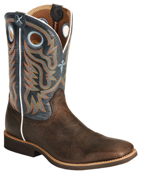 Twisted X Western Roper Cowboy Boots - Square Toe, Chocolate, hi-res