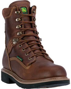 "John Deere Men's 8"" Waterproof Lace-Up Work Boots, Brown, hi-res"
