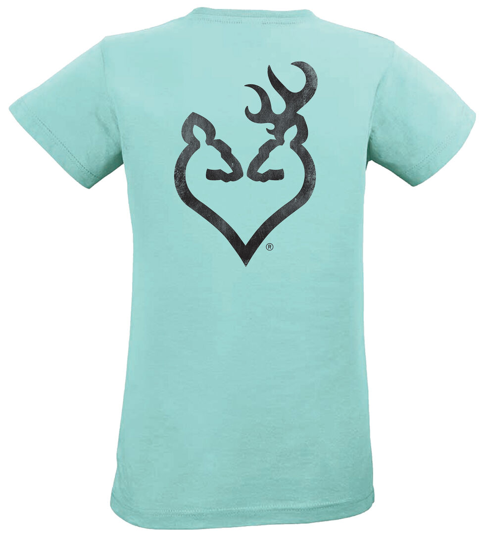 Browning Women's Distressed Black Buckheart Chill Short Sleeve Tee, Blue, hi-res