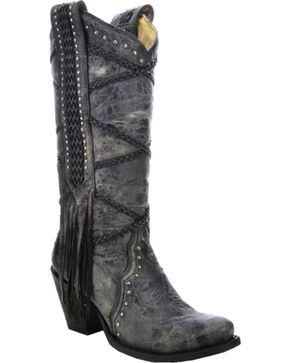 Corral Women's Braided with Fringe Cowgirl Boots - Snip Toe, Black, hi-res
