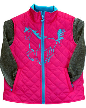 Cowgirl Hardware Toddler Girls' Filly Quilted Vest, Pink, hi-res