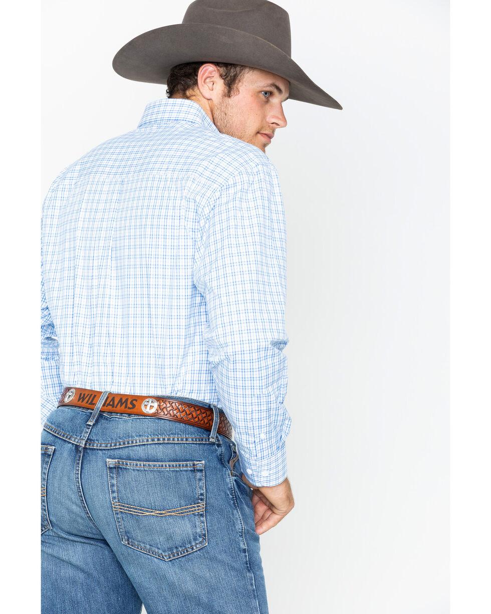 George Strait by Wrangler Men's Blue Plaid Long Sleeve Button Down Shirt, Blue, hi-res