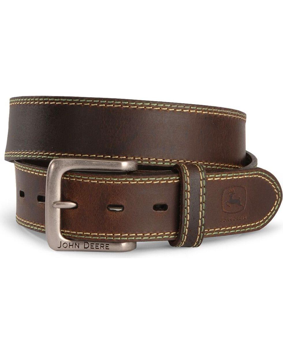 John Deere Leather Belt, Brown, hi-res