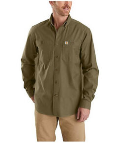 Carhartt Men's Military Olive Rugged Flex Midwieght Canvas Long Sleeve Button-Down Work Shirt - Tall , Olive, hi-res