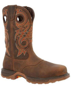 Durango Men's Saddle Waterproof Western Work Boots - Composite Toe, Brown, hi-res