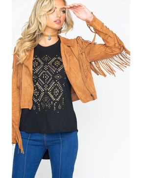 Flying Tomato Women's Suede Zip Up Fringe Jacket , Tan, hi-res