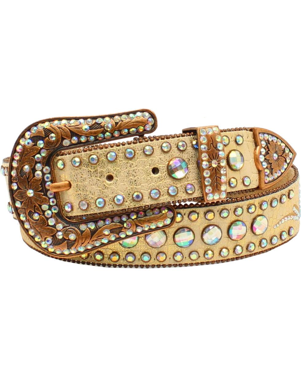 Nocona Women's Scroll Round Concho Belt, Gold, hi-res
